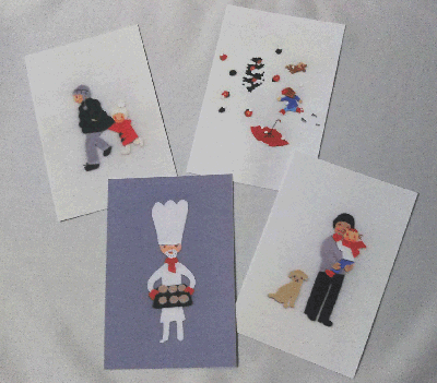 布貼り絵のポストカード画像